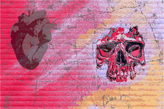 Graffiti skull and heart Royalty Free Stock Photography