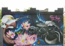 Graffiti of snake, birds, skulls, mouth, lotus, butterfly and mo Royalty Free Stock Photo