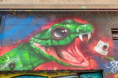 Graffiti of the snake. On the wall in Hosier lane in Melbourne, Australia Royalty Free Stock Photo
