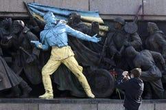 Graffiti soviétique de monument d'armée de la Bulgarie Ukraine Images libres de droits