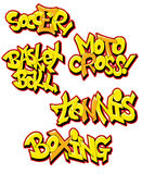 Graffiti sport names Stock Photography