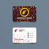 Graffiti spray can sign icon. Aerosol paint. Business card template with confetti pieces. Graffiti spray can sign icon. Aerosol paint symbol. Phone, web and Royalty Free Stock Photography