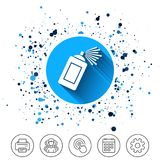 Graffiti spray can sign icon. Aerosol paint. Button on circles background. Graffiti spray can sign icon. Aerosol paint symbol. Calendar line icon. And more line Royalty Free Stock Photo