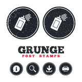 Graffiti spray can sign icon. Aerosol paint. Grunge post stamps. Graffiti spray can sign icon. Aerosol paint symbol. Information, download and printer signs Stock Photos