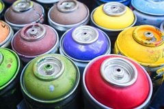 Graffiti spray cans Royalty Free Stock Photos