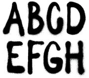 Graffiti spray paint font type (part 1) alphabet. Detailed graffiti spray paint font type (part 1) alphabet Stock Photo