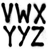 Graffiti spray paint font type (part 4) alphabet. Detailed graffiti spray paint font type (part 4) alphabet Royalty Free Stock Photos