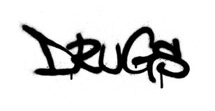Graffiti sprayed drugs word in black over white Royalty Free Stock Images