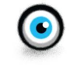 Graffiti sprayed eyeball floating over white Stock Photos