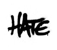 Graffiti sprayed hate word in black on white Stock Photos