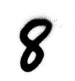 Graffiti sprayed number 8 eight in black on white Royalty Free Stock Images