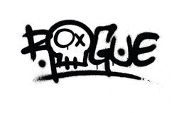 Graffiti sprayed rogue tag in black over white Stock Photo