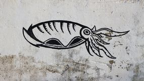 Graffiti of squid of on the wall Stock Image