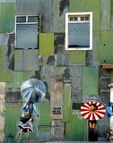 Graffiti- stars and umbrellas, Valparaiso. Chile. Image shows graffiti in central Valparaiso and reflects the city's arty and bohemian feel royalty free stock photography