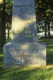 Graffiti on Statue of Tecumseh Royalty Free Stock Photography
