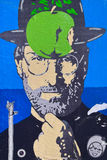 Graffiti of Steve Jobs. Graffiti of Steve Jobs as Magritte character Royalty Free Stock Image