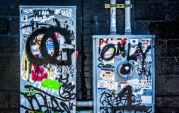 Graffiti and stickers on power meters in Little Five Points, Atl Stock Image