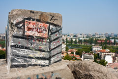 Graffiti on a Stone. Written art on a Plovidv hill with a view of the city, Bulgaria Royalty Free Stock Photo