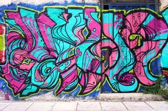 Graffiti street art in Athens, Greece Royalty Free Stock Photo