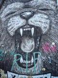 Graffiti street art on berlin wall Stock Images