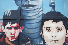 Graffiti and Street art in Bogota. BOGOTA, COLOMBIA, 5: Colorful graffiti in the historic district of Bogota designed by unknown artist. Bogota offers loads of Stock Photo