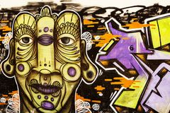 Graffiti Street Art Details. Urban Art Graffiti. Strong colours and outlines, close up Stock Image