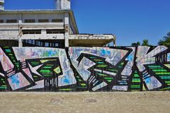 Graffiti street art in Rennes, the capital of Brittany in France Royalty Free Stock Photo