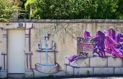 Graffiti street art in Rennes, the capital of Brittany in France Royalty Free Stock Images
