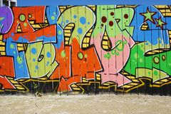 Graffiti street art in Rennes, the capital of Brittany in France Royalty Free Stock Photos
