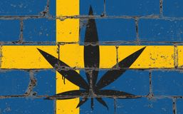 Graffiti street art spray drawing on stencil. Cannabis leaf on brick wall with flag Sweden vector illustration