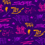 Graffiti street art wall grunge color font vector seamless pattern background Stock Photo