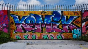 Graffiti street art in the Wynwood neighborhood of Miami. MIAMI, FLORIDA --OCTOBER 2014-- Colorful graffiti art line the street walls and back alleys of Miami Royalty Free Stock Image