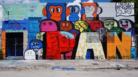 Graffiti street art in the Wynwood neighborhood of Miami Royalty Free Stock Images