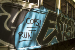 Graffiti on street car royalty free stock photos