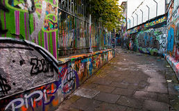 Graffiti street in Ghent Stock Images