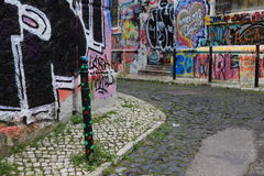 Graffiti street. In Lisbon, Portugal Royalty Free Stock Images