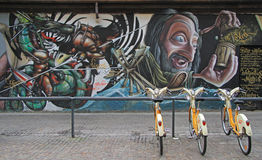 Graffiti on the street in Milan. Milan, Italy - November 28, 2015: graffiti on the street in Milan Stock Images