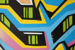 Graffiti street 2. Nice lines in graffiti with colors pink, blue, yellow and black Stock Image