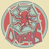 Graffiti stye contour drawing octopus illustration Royalty Free Stock Images