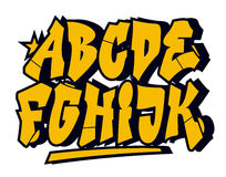 Graffiti style font. Vector alphabet (part 1) Royalty Free Stock Photos