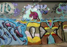 Free Graffiti Style Mural In The Fabrication Yard At 621 Fabrication Street In Dallas, Texas. Stock Photo - 178189500