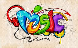 Graffiti style Music background. Illustration of music background graffiti style Stock Photo