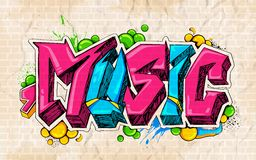 Graffiti style Music background. Illustration of music background graffiti style Royalty Free Stock Image
