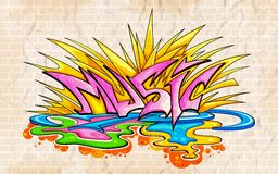 Graffiti style Music background. Illustration of music background graffiti style Royalty Free Stock Photo