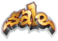 Graffiti style. Sale Graffiti. Sale inscription, urban art. Vector Stock Image