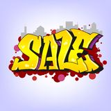 Graffiti style, sale inscription, urban art. Stock Photo
