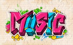 Graffiti stylowy Muzyczny tło Obraz Royalty Free
