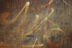 Graffiti su metallo arrugginito Immagini Stock Libere da Diritti