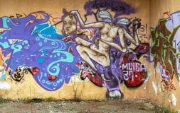 Graffiti sulla parete Fotografia Stock
