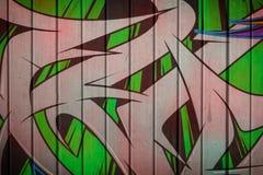 Graffiti sulla parete di legno Fotografie Stock Libere da Diritti